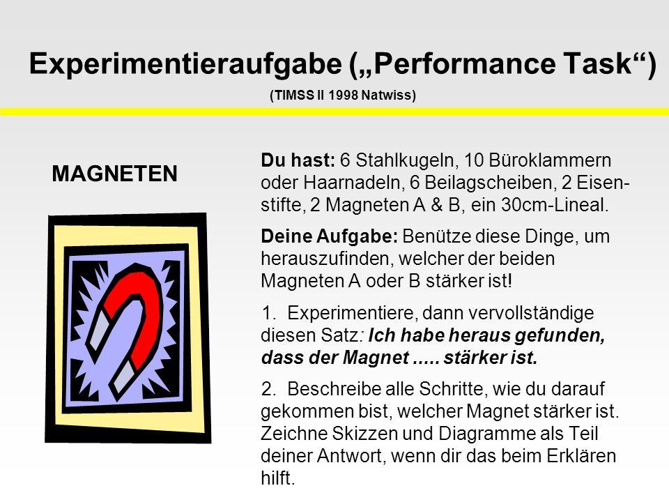 """Experimentieraufgabe (""""Performance Task ) (TIMSS II 1998 Natwiss) Du hast: 6 Stahlkugeln, 10 Büroklammern oder Haarnadeln, 6 Beilagscheiben, 2 Eisen- stifte, 2 Magneten A & B, ein 30cm-Lineal."""