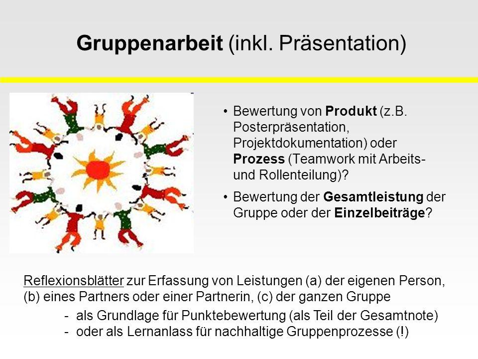 Gruppenarbeit (inkl. Präsentation) Bewertung von Produkt (z.B.