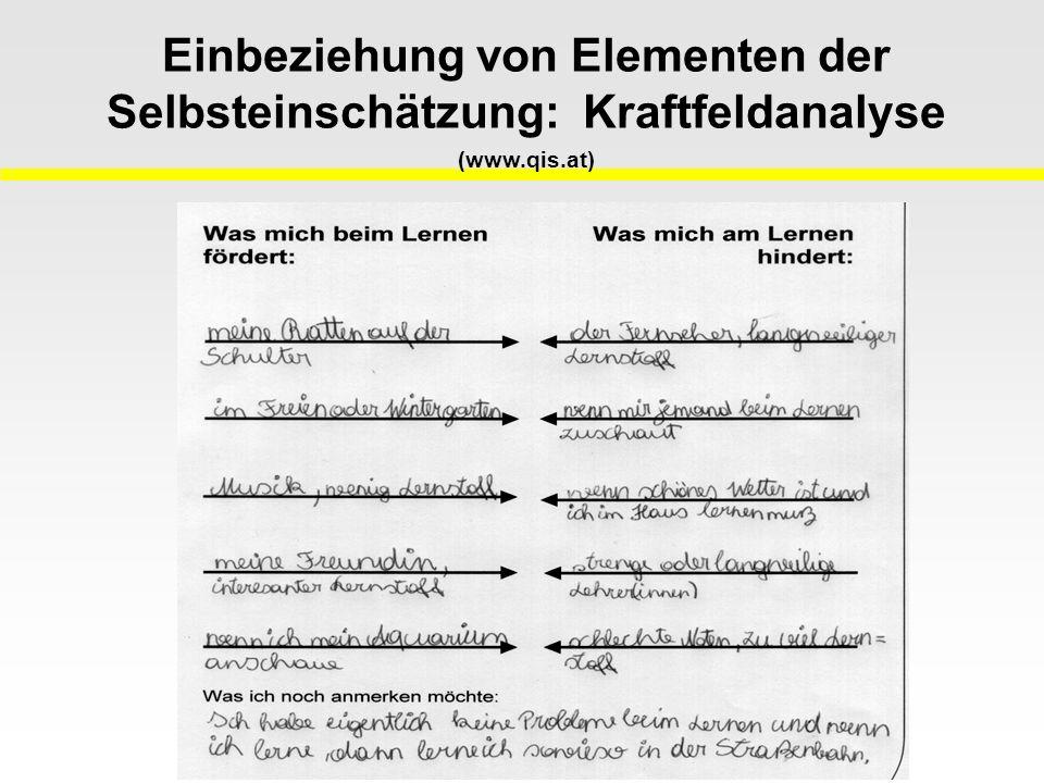 Einbeziehung von Elementen der Selbsteinschätzung: Kraftfeldanalyse (www.qis.at)