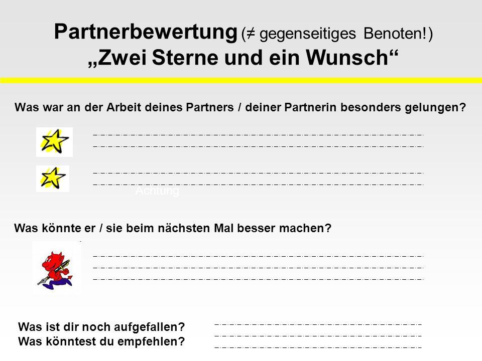 """Partnerbewertung (≠ gegenseitiges Benoten!) """"Zwei Sterne und ein Wunsch Was war an der Arbeit deines Partners / deiner Partnerin besonders gelungen."""