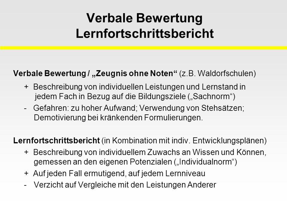 """Verbale Bewertung Lernfortschrittsbericht Verbale Bewertung / """"Zeugnis ohne Noten (z.B."""