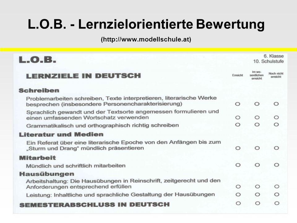 L.O.B. - Lernzielorientierte Bewertung (http://www.modellschule.at)