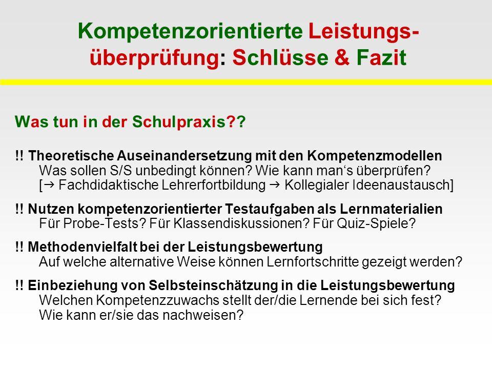 Kompetenzorientierte Leistungs- überprüfung: Schlüsse & Fazit Was tun in der Schulpraxis?.