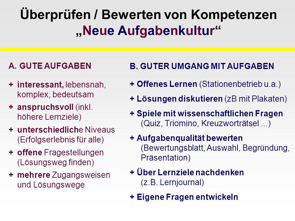"""Überprüfen / Bewerten von Kompetenzen """"Neue Aufgabenkultur B."""