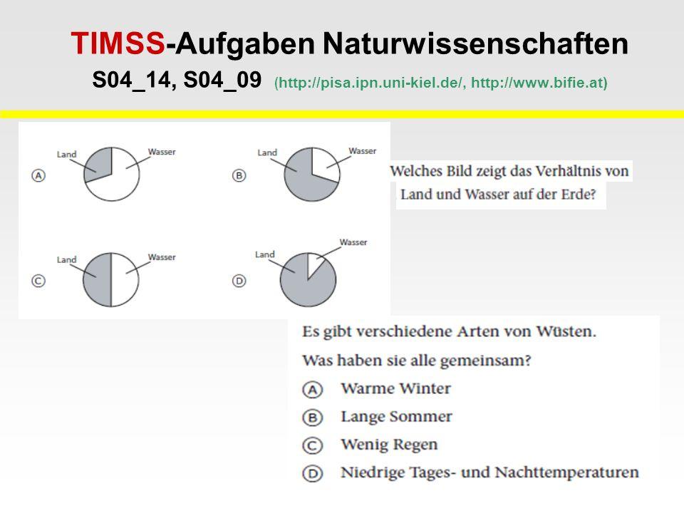 TIMSS-Aufgaben Naturwissenschaften S04_14, S04_09 ( http://pisa.ipn.uni-kiel.de/, http://www.bifie.at)