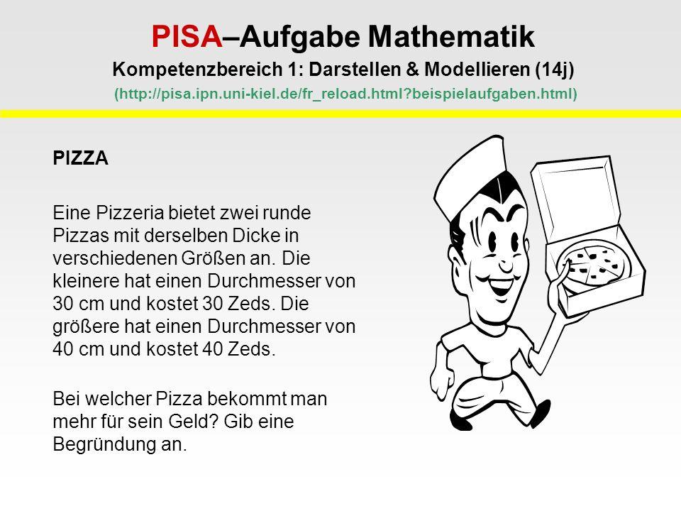PISA–Aufgabe Mathematik Kompetenzbereich 1: Darstellen & Modellieren (14j) (http://pisa.ipn.uni-kiel.de/fr_reload.html beispielaufgaben.html) PIZZA Eine Pizzeria bietet zwei runde Pizzas mit derselben Dicke in verschiedenen Größen an.