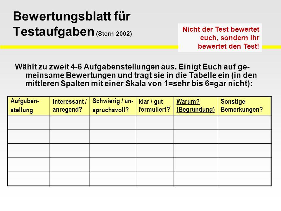 Bewertungsblatt für Testaufgaben (Stern 2002) Wählt zu zweit 4-6 Aufgabenstellungen aus.