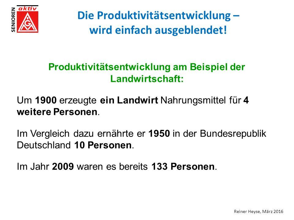 Die Produktivitätsentwicklung – wird einfach ausgeblendet.