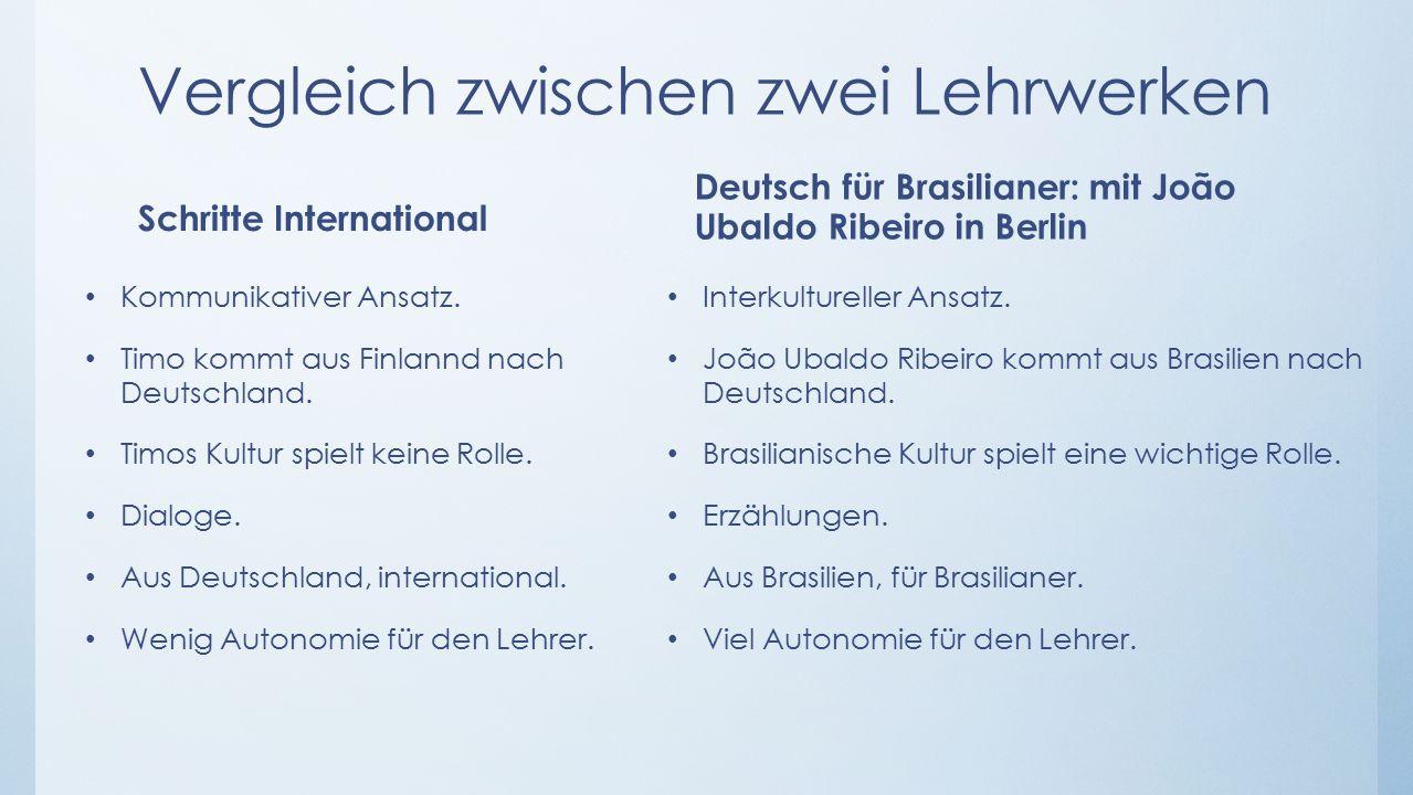 Vergleich zwischen zwei Lehrwerken Schritte International Kommunikativer Ansatz.