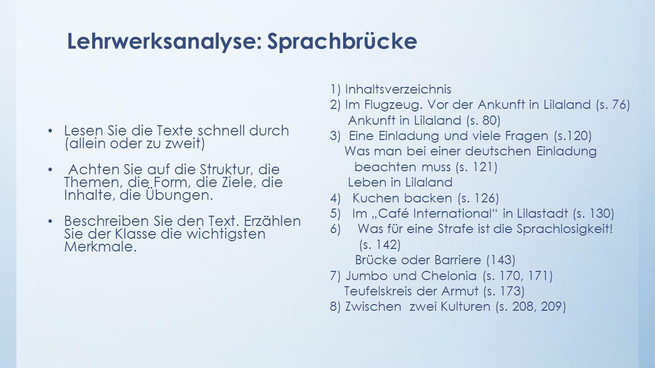 Lehrwerksanalyse: Sprachbrücke 1) Inhaltsverzeichnis 2) Im Flugzeug.