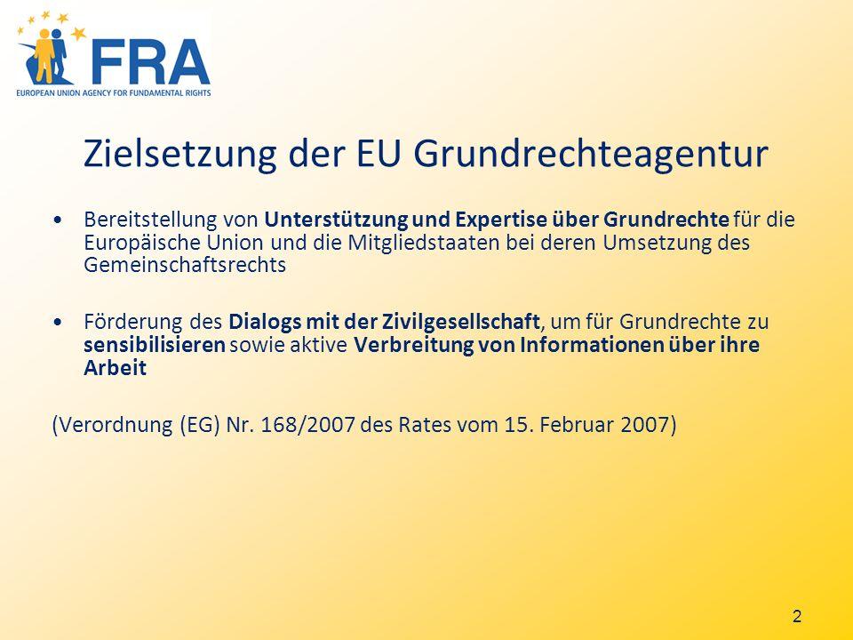2 Zielsetzung der EU Grundrechteagentur Bereitstellung von Unterstützung und Expertise über Grundrechte für die Europäische Union und die Mitgliedstaaten bei deren Umsetzung des Gemeinschaftsrechts Förderung des Dialogs mit der Zivilgesellschaft, um für Grundrechte zu sensibilisieren sowie aktive Verbreitung von Informationen über ihre Arbeit (Verordnung (EG) Nr.