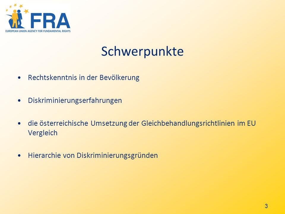 3 Schwerpunkte Rechtskenntnis in der Bevölkerung Diskriminierungserfahrungen die österreichische Umsetzung der Gleichbehandlungsrichtlinien im EU Vergleich Hierarchie von Diskriminierungsgründen