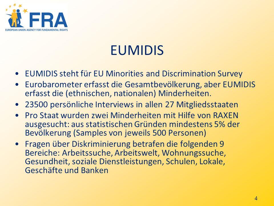 4 EUMIDIS EUMIDIS steht für EU Minorities and Discrimination Survey Eurobarometer erfasst die Gesamtbevölkerung, aber EUMIDIS erfasst die (ethnischen, nationalen) Minderheiten.