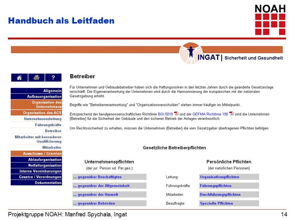 Projektgruppe NOAH: Manfred Spychala, Ingat 14 Handbuch als Leitfaden