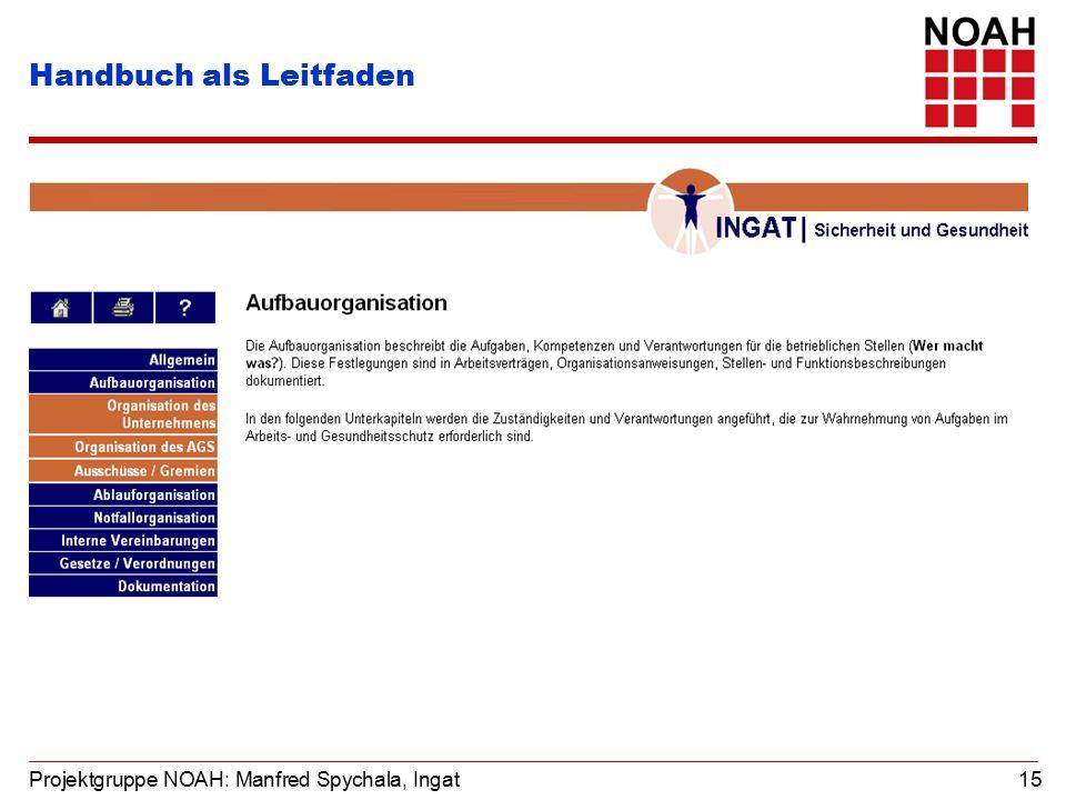 Projektgruppe NOAH: Manfred Spychala, Ingat 15 Handbuch als Leitfaden