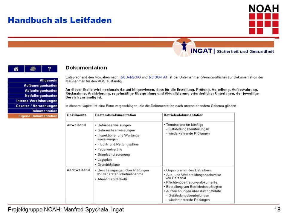 Projektgruppe NOAH: Manfred Spychala, Ingat 18 Handbuch als Leitfaden