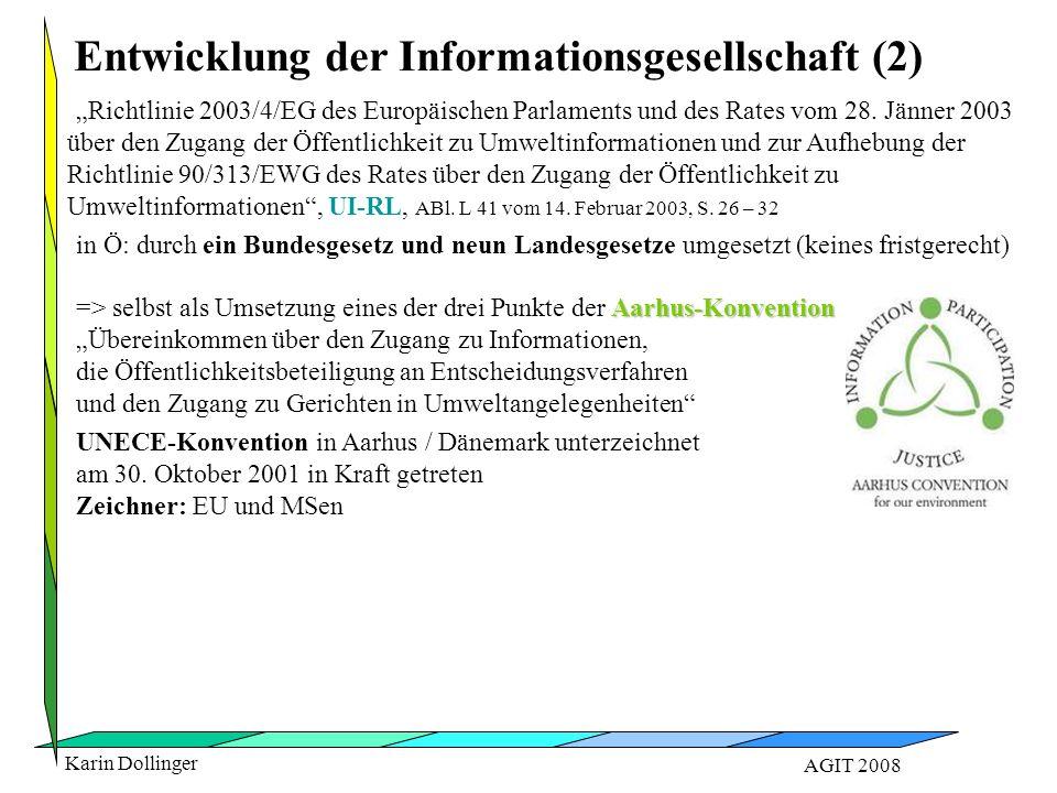 """Karin Dollinger AGIT 2008 Entwicklung der Informationsgesellschaft (2) """"Richtlinie 2003/4/EG des Europäischen Parlaments und des Rates vom 28. Jänner"""