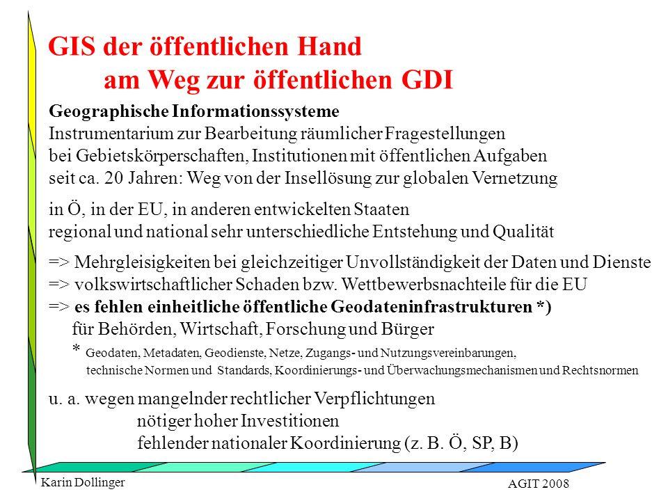 Karin Dollinger AGIT 2008 Geodateninfrastrukturen unentbehrlich, damit sich Wertschöpfungsketten ausbilden können < 20 % dieses Potentials derzeit genutzt Schatz im Schrank  verzweifelte Wirtschaftstreibende Haupthindernisse am Geodatenmarkt: Wertschöpfungspotential