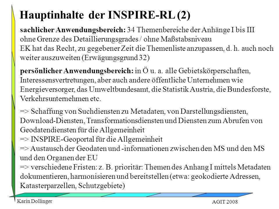 Karin Dollinger AGIT 2008 sachlicher Anwendungsbereich: 34 Themenbereiche der Anhänge I bis III ohne Grenze des Detaillierungsgrades / ohne Maßstabsniveau EK hat das Recht, zu gegebener Zeit die Themenliste anzupassen, d.