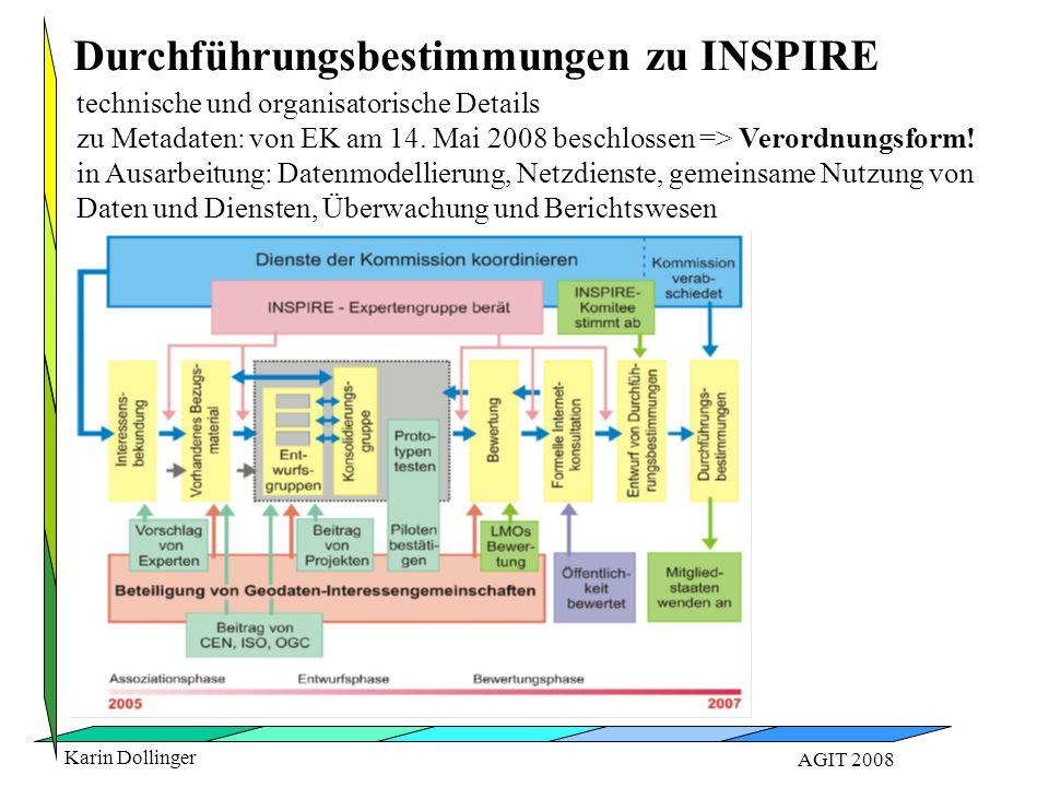 Karin Dollinger AGIT 2008 technische und organisatorische Details zu Metadaten: von EK am 14. Mai 2008 beschlossen => Verordnungsform! in Ausarbeitung