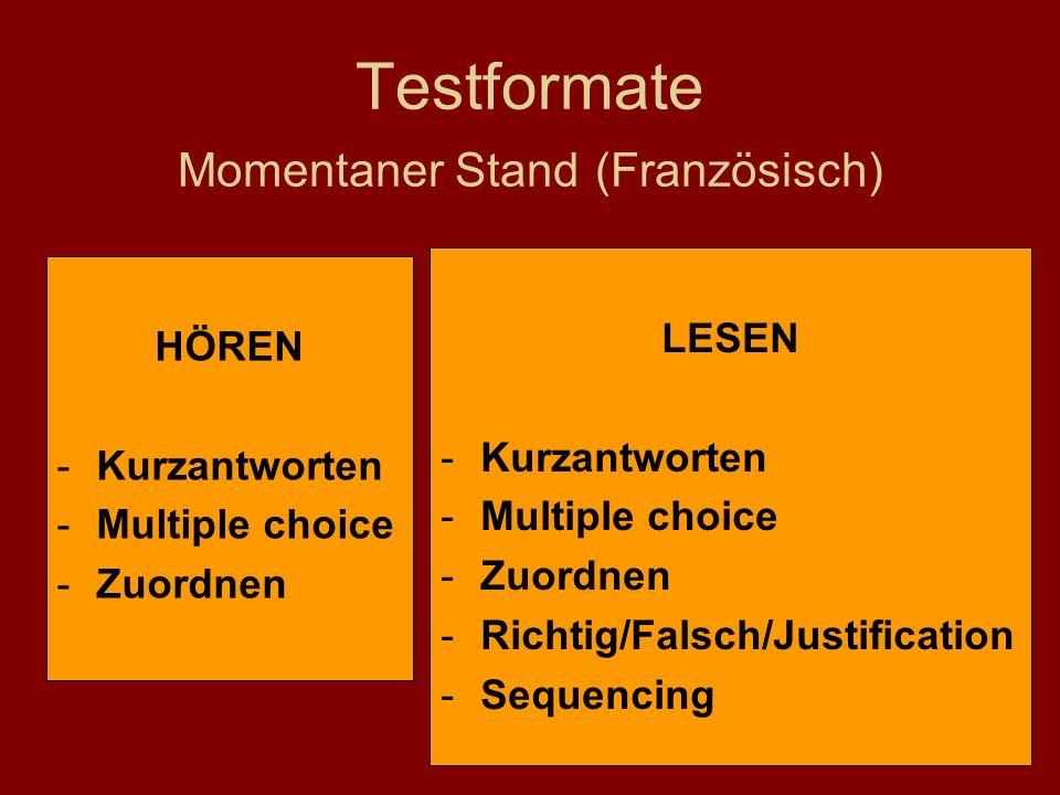Testformate Momentaner Stand (Französisch) LESEN -Kurzantworten -Multiple choice -Zuordnen -Richtig/Falsch/Justification -Sequencing HÖREN -Kurzantworten -Multiple choice -Zuordnen