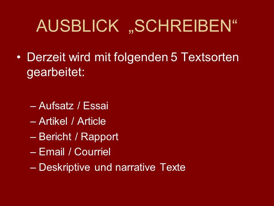 """AUSBLICK """"SCHREIBEN Derzeit wird mit folgenden 5 Textsorten gearbeitet: –Aufsatz / Essai –Artikel / Article –Bericht / Rapport –Email / Courriel –Deskriptive und narrative Texte"""