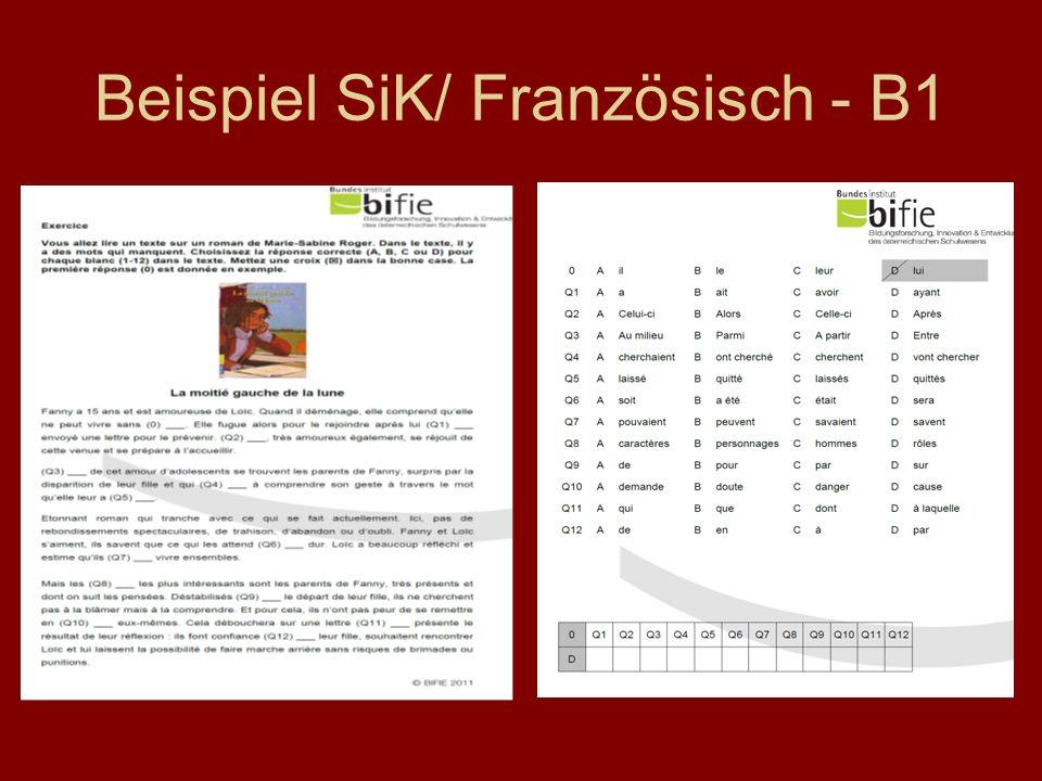 Beispiel SiK/ Französisch - B1