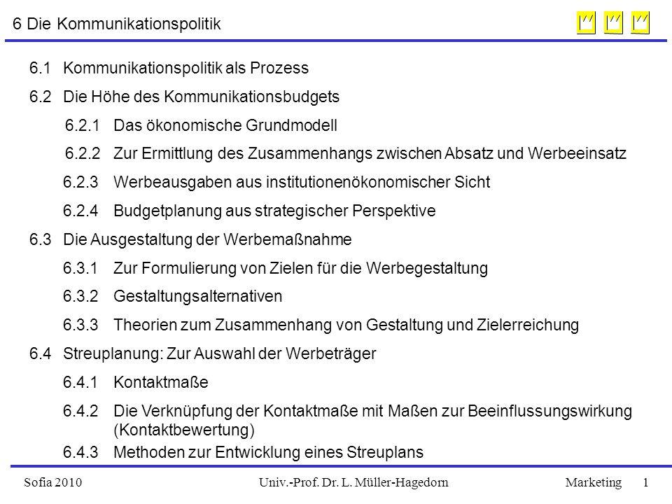 Univ.-Prof. Dr. L. Müller-HagedornSofia 2010Marketing 1 6 Die Kommunikationspolitik 6.1Kommunikationspolitik als Prozess 6.2Die Höhe des Kommunikation