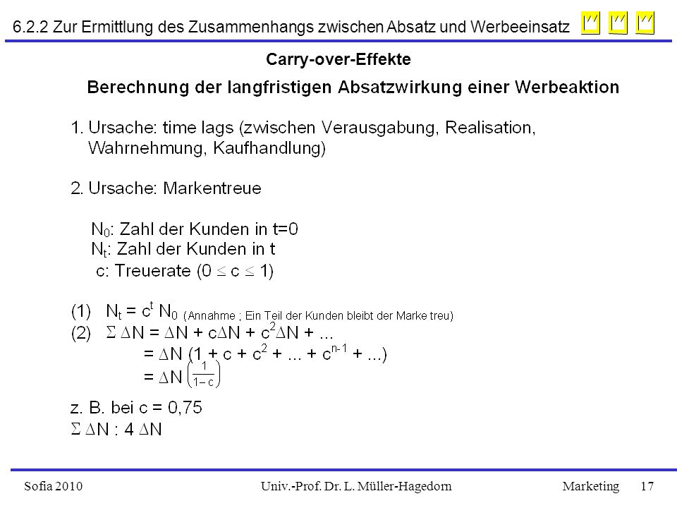 Univ.-Prof. Dr. L. Müller-HagedornSofia 2010Marketing 17 Carry-over-Effekte 6.2.2 Zur Ermittlung des Zusammenhangs zwischen Absatz und Werbeeinsatz