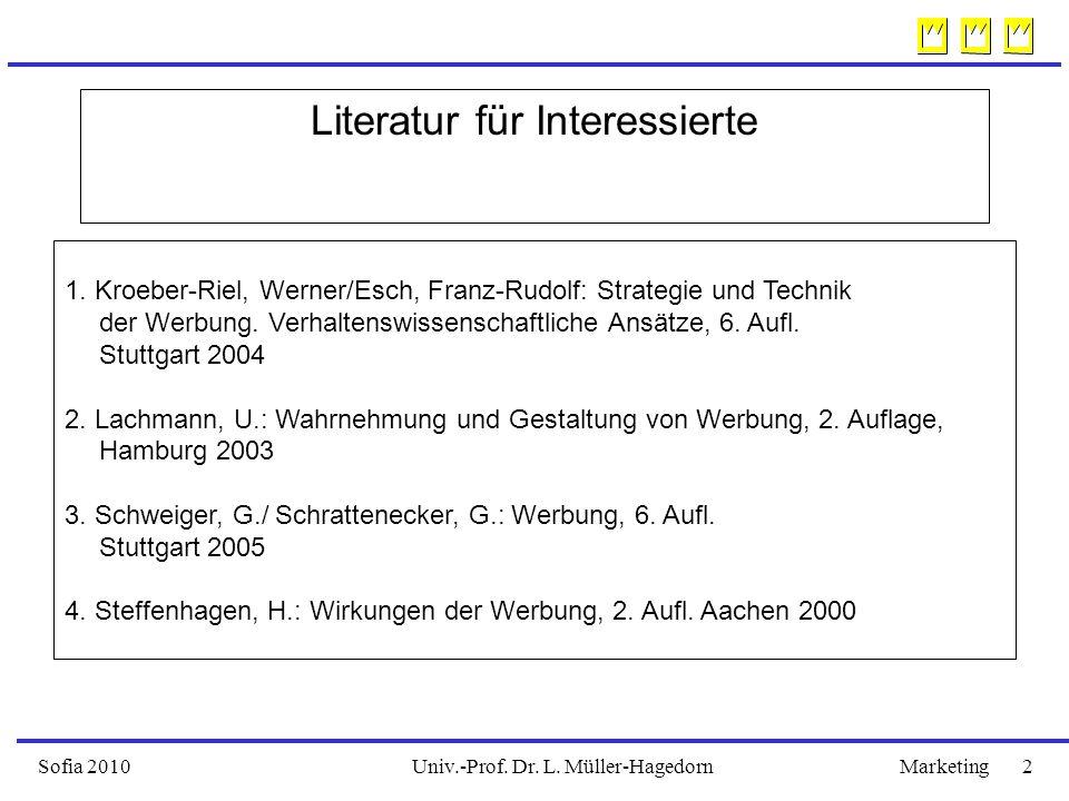 Univ.-Prof. Dr. L. Müller-HagedornSofia 2010Marketing 2 Literatur für Interessierte 1. Kroeber-Riel, Werner/Esch, Franz-Rudolf: Strategie und Technik