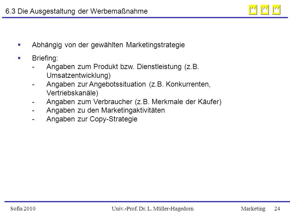 Univ.-Prof. Dr. L. Müller-HagedornSofia 2010Marketing 24 6.3 Die Ausgestaltung der Werbemaßnahme  Abhängig von der gewählten Marketingstrategie  Bri