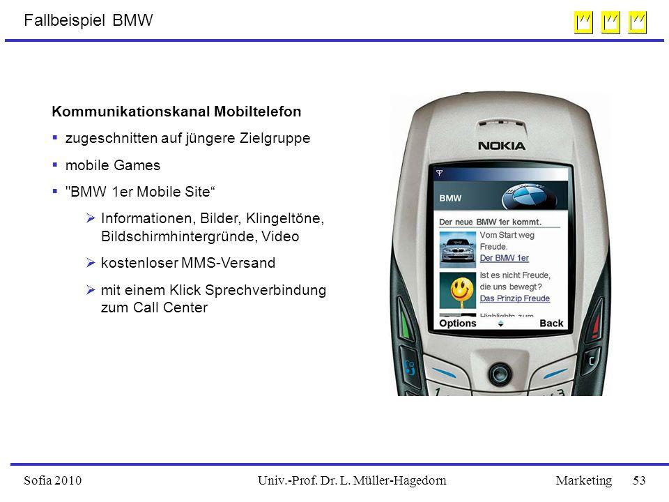 Univ.-Prof. Dr. L. Müller-HagedornSofia 2010Marketing 53 Kommunikationskanal Mobiltelefon  zugeschnitten auf jüngere Zielgruppe  mobile Games 
