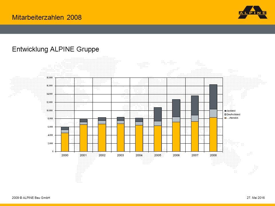 27. Mai 20162009 © ALPINE Bau GmbH Mitarbeiterzahlen 2008 Entwicklung ALPINE Gruppe