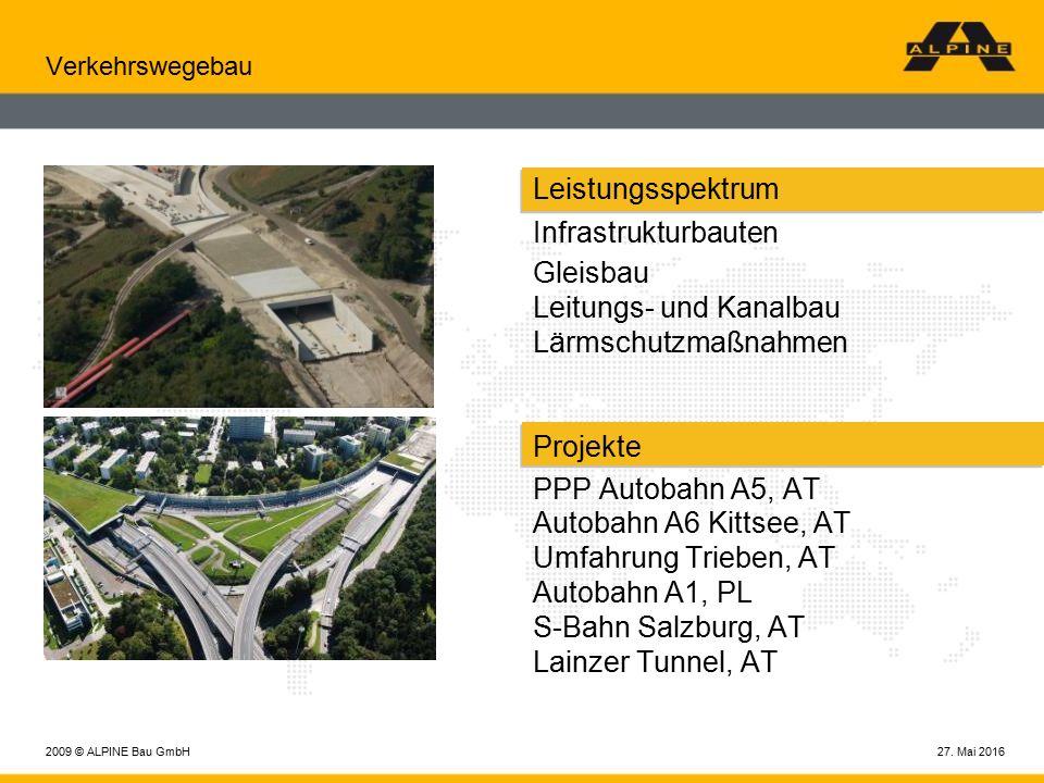 27. Mai 20162009 © ALPINE Bau GmbH Verkehrswegebau Leistungsspektrum Infrastrukturbauten Gleisbau Leitungs- und Kanalbau Lärmschutzmaßnahmen Projekte
