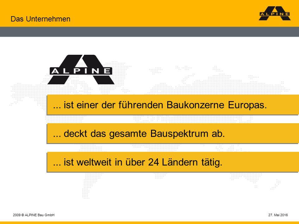 27. Mai 20162009 © ALPINE Bau GmbH Das Unternehmen...