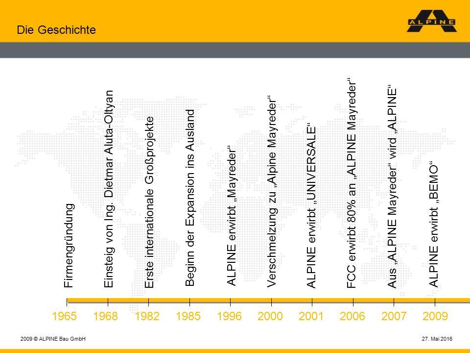 27. Mai 20162009 © ALPINE Bau GmbH Die Geschichte Firmengründung 1965 Einsteig von Ing.