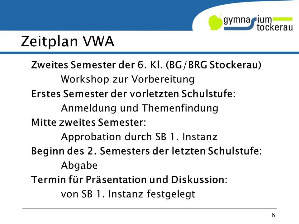 VWA – formal und inhaltlich 7 themen‐, nicht unbedingt fachorientiert Thema kann von bis zu 3 Kandidat/inn/en bearbeitet werden, aber klare Abgrenzung, individuelle Beurteilung.