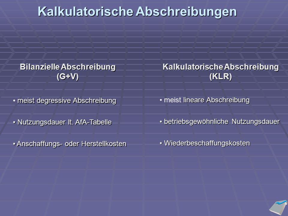Bilanzielle Abschreibung (G+V) Kalkulatorische Abschreibung (KLR) meist degressive Abschreibung Nutzungsdauer lt.