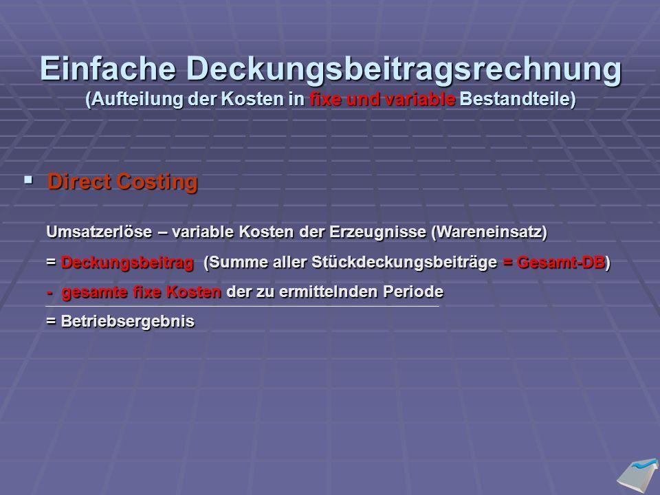 Einfache Deckungsbeitragsrechnung (Aufteilung der Kosten in fixe und variable Bestandteile) Umsatzerlöse – variable Kosten der Erzeugnisse (Wareneinsatz) Umsatzerlöse – variable Kosten der Erzeugnisse (Wareneinsatz) = Deckungsbeitrag (Summe aller Stückdeckungsbeiträge = Gesamt-DB) = Deckungsbeitrag (Summe aller Stückdeckungsbeiträge = Gesamt-DB) - gesamte fixe Kosten der zu ermittelnden Periode - gesamte fixe Kosten der zu ermittelnden Periode = Betriebsergebnis = Betriebsergebnis  Direct Costing