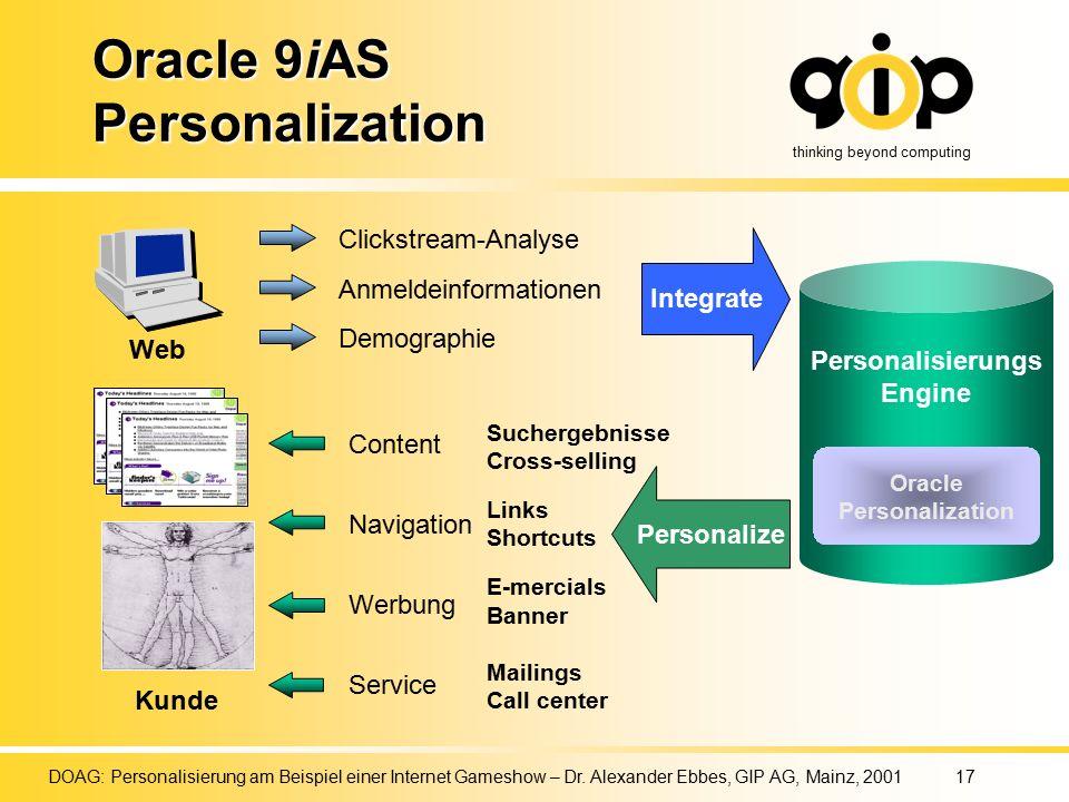 thinking beyond computing DOAG: Personalisierung am Beispiel einer Internet Gameshow – Dr.