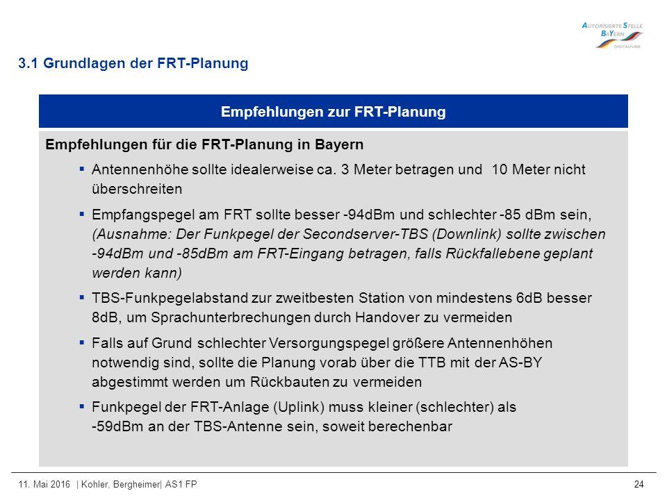 11. Mai 2016 | Kohler, Bergheimer| AS1 FP 24 Empfehlungen zur FRT-Planung Empfehlungen für die FRT-Planung in Bayern  Antennenhöhe sollte idealerweis