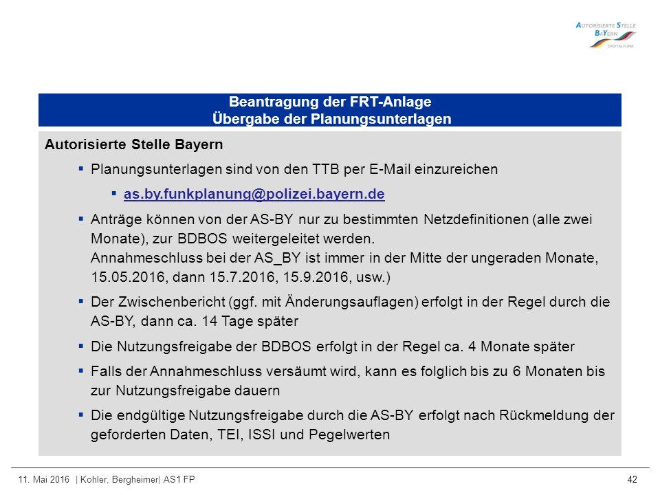 11. Mai 2016 | Kohler, Bergheimer| AS1 FP 42 Beantragung der FRT-Anlage Übergabe der Planungsunterlagen Autorisierte Stelle Bayern  Planungsunterlage