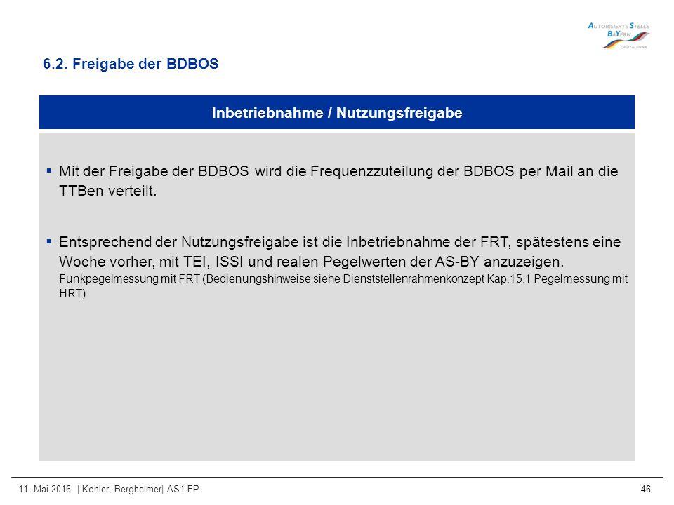 11. Mai 2016 | Kohler, Bergheimer| AS1 FP 46 Inbetriebnahme / Nutzungsfreigabe  Mit der Freigabe der BDBOS wird die Frequenzzuteilung der BDBOS per M
