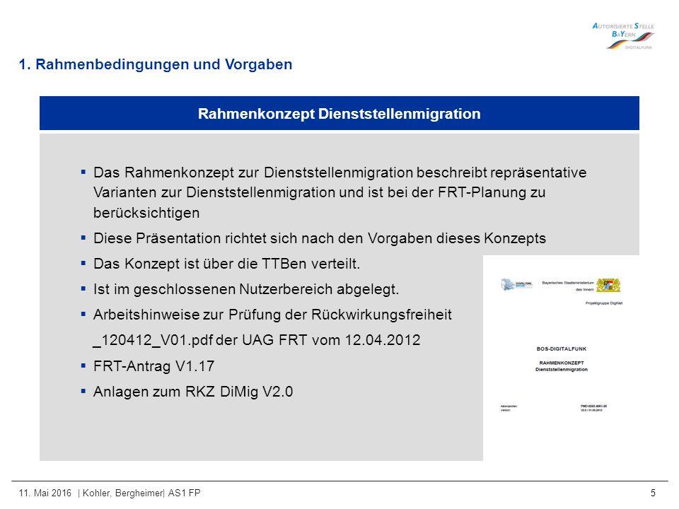 11. Mai 2016 | Kohler, Bergheimer| AS1 FP 5 1. Rahmenbedingungen und Vorgaben Rahmenkonzept Dienststellenmigration  Das Rahmenkonzept zur Dienststell