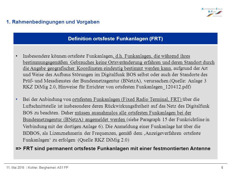 11. Mai 2016 | Kohler, Bergheimer| AS1 FP 6 1. Rahmenbedingungen und Vorgaben Definition ortsfeste Funkanlagen (FRT) Insbesondere können ortsfeste Fun