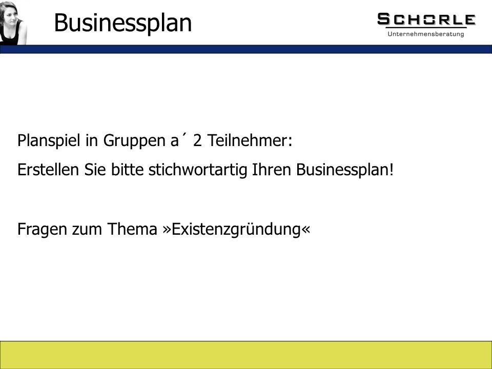 Planspiel in Gruppen a´ 2 Teilnehmer: Erstellen Sie bitte stichwortartig Ihren Businessplan.