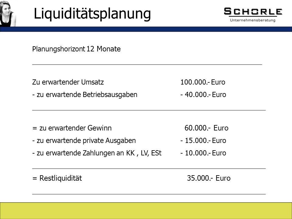 Planungshorizont 12 Monate _____________________________________________________________ Zu erwartender Umsatz 100.000.- Euro - zu erwartende Betriebsausgaben - 40.000.- Euro ______________________________________________________________ = zu erwartender Gewinn 60.000.- Euro - zu erwartende private Ausgaben - 15.000.- Euro - zu erwartende Zahlungen an KK, LV, ESt - 10.000.- Euro ______________________________________________________________ = Restliquidität 35.000.- Euro ______________________________________________________________ Liquiditätsplanung