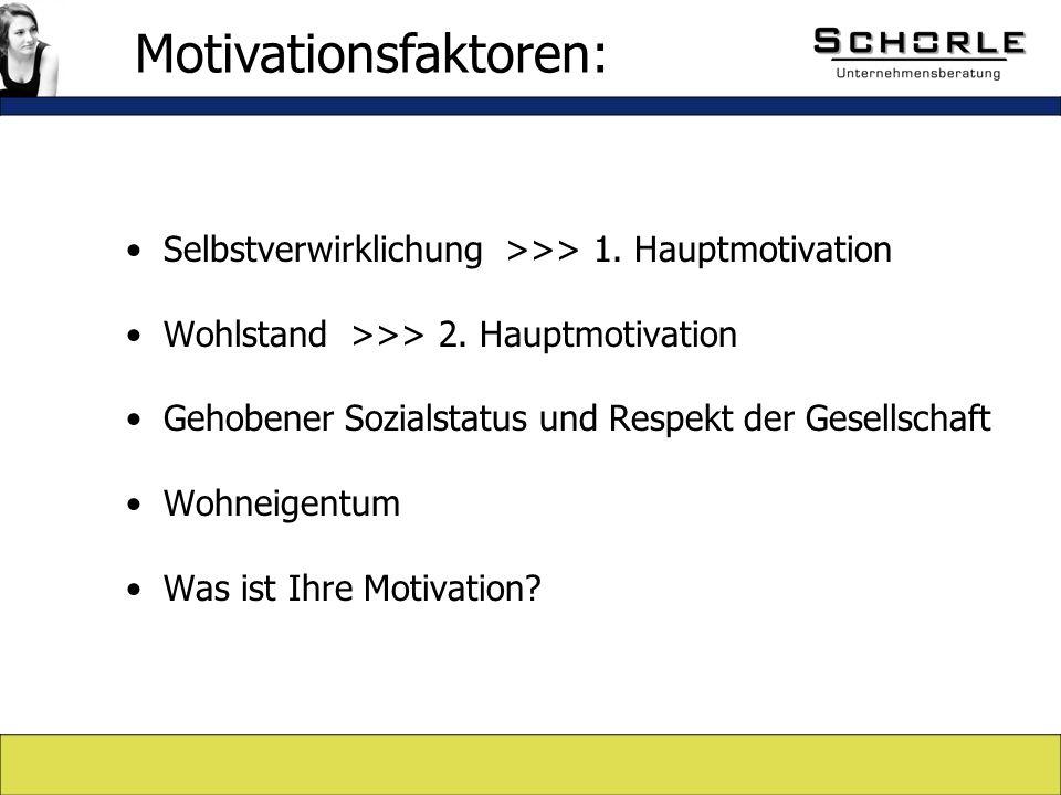 Selbstverwirklichung >>> 1. Hauptmotivation Wohlstand >>> 2.