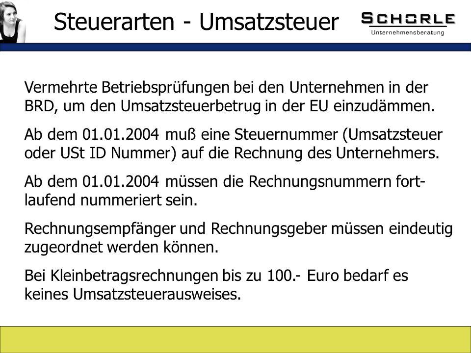 Vermehrte Betriebsprüfungen bei den Unternehmen in der BRD, um den Umsatzsteuerbetrug in der EU einzudämmen.