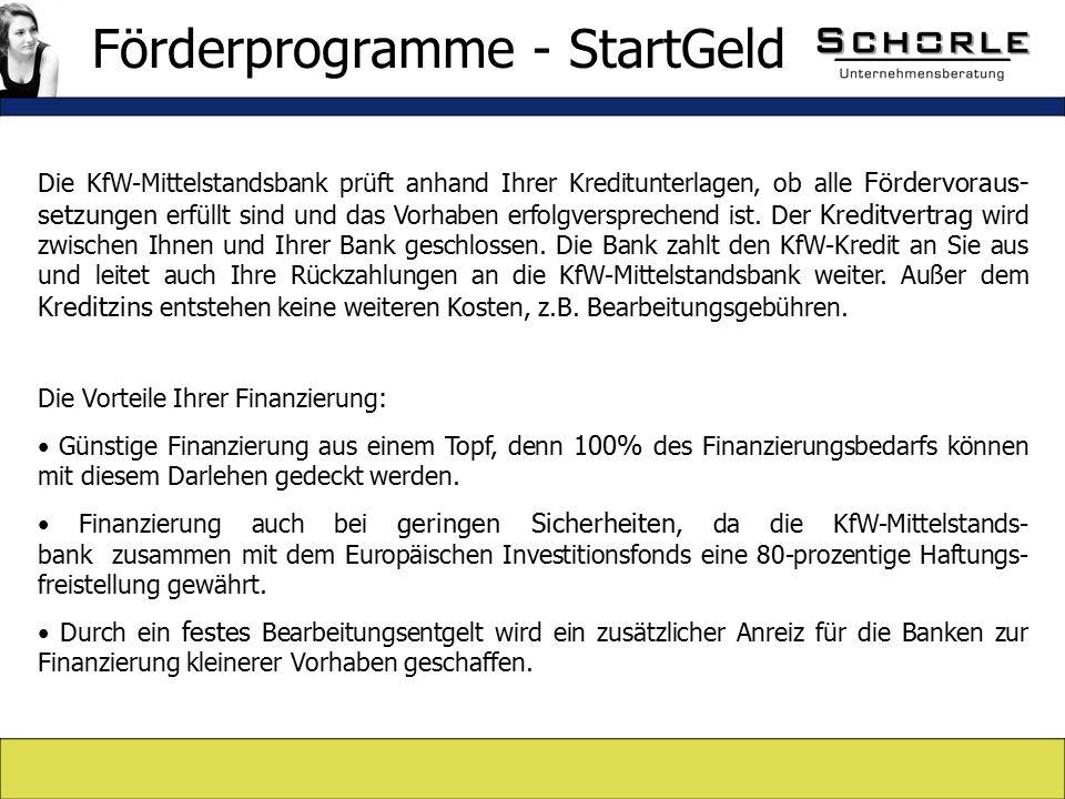 Die KfW-Mittelstandsbank prüft anhand Ihrer Kreditunterlagen, ob alle Fördervoraus- setzungen erfüllt sind und das Vorhaben erfolgversprechend ist.